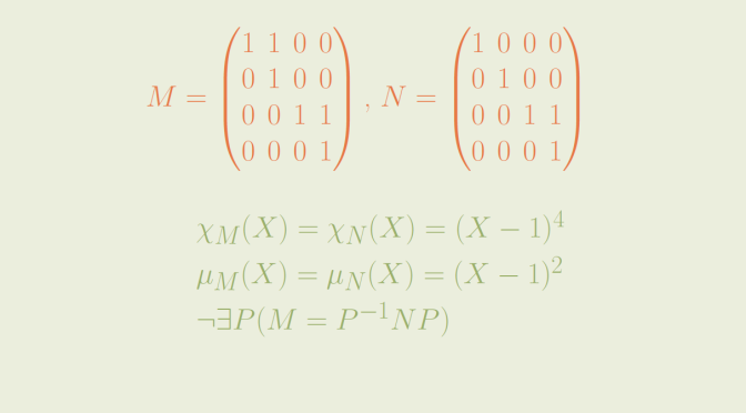 Two non similar matrices having same minimal and characteristic polynomials