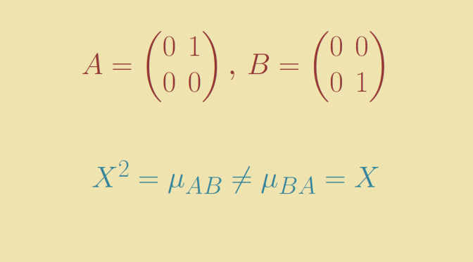 Two matrices A and B for which AB and BA have different minimal polynomials