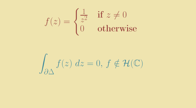 Counterexample around Morera's theorem
