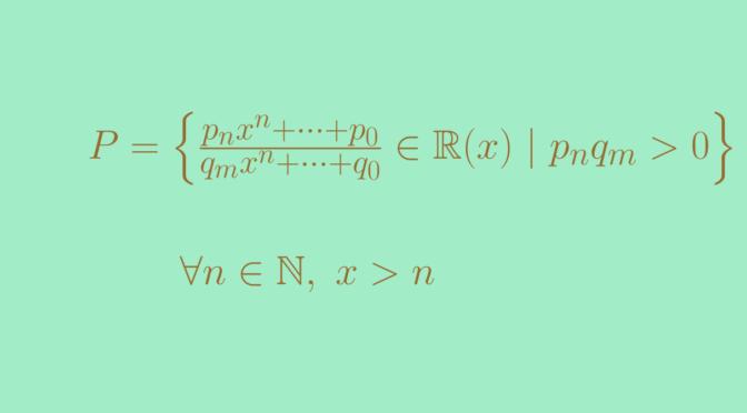 A non Archimedean ordered field